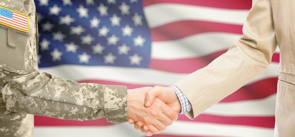 American Flag Soldier handshake