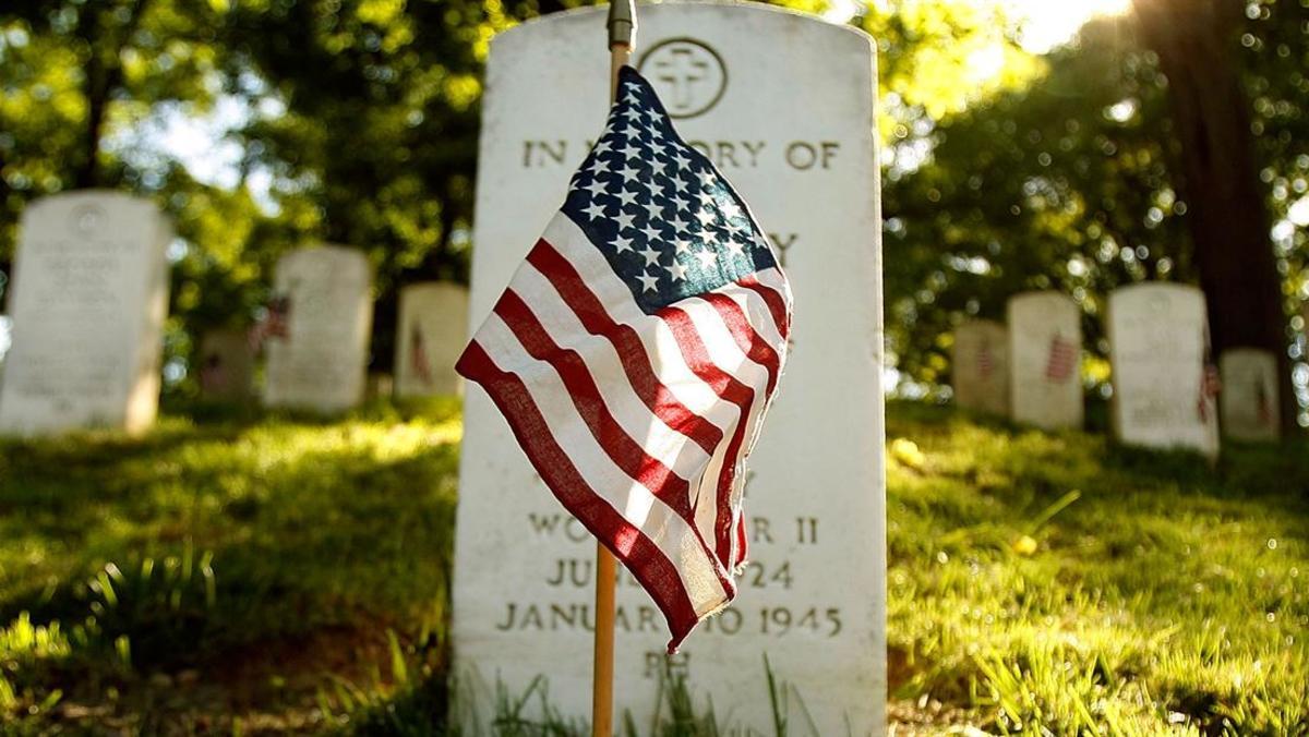 Veteran grave american flag