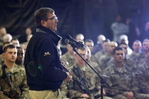 Carter delivers remarks at a question-and-answer session with U.S. military personnel at Kandahar Airfield in Kandahar
