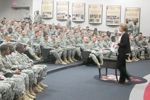 Cynthia Hamala, part of Fort Lee's Alcohol and Substance Abuse Program, briefs Soldiers from Foxtrot Company, 16th Ordnance Battalion, 59th Ord. Brigade, about the ASAP within the Army. (Contributed Photo)