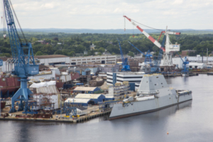 The USS Zumwalt at Bath Iron Works.