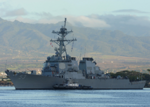 150727-N-ZK021-002 PEARL HARBOR (July 27, 2015) The guided-missile destroyer USS John Paul Jones (DDG 53) departs Joint Base Pearl-Harbor-Hickam for a scheduled underway. John Paul Jones replaced USS Lake Erie (CG 70) in Hawaii as the nation's ballistic missile defense test ship. (U.S. Navy photo by Mass Communication Specialist 1st Class Nardel Gervacio/Released)