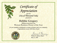 Thousand Oaks - Certificate of Appreciation Woman Business Owner of the Year