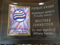 Patriot Award - Homefront America Proudly Salutes: Military Connection For their Support of Military Families