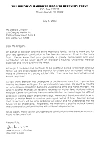 Letter from The Brendan Marrocco Road to Recovery Trust