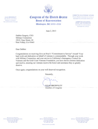 Letter from Congress Member, Julia Brownley
