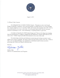 Letter of Commendation from Melissa Giller, Reagan Foundation